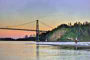 Boats In Harbor Digital Art Posters - Downtown Vancouver and Lions gate bridge at twilight Poster by Eti Reid