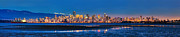 City Lights Posters - Downtown Vancouver from Spanish Banks Beach Poster by Alexis Birkill