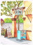 Vertical Painting Posters - Downtowne Used Books in Riverside - California Poster by Carlos G Groppa