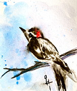 Woodpeckers Paintings - Downy Woodpecker Sumi-e by Beverley Harper Tinsley