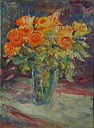 Thomas Bertram Poole Metal Prints - Dozen Orange Roses Metal Print by Thomas Bertram POOLE