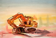 Heavy Equipment Framed Prints - Dozer in Watercolor  Framed Print by Kip DeVore