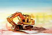 Heavy Equipment Mixed Media Prints - Dozer October Print by Kip DeVore