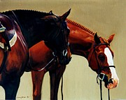 Show Horse Paintings - Dozing by Janet  Crawford