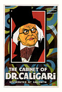Scared Mixed Media Prints - Dr. Caligari 1919 Horror Movie Poster Print by Presented By American Classic Art