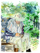 Hiker Paintings - Dr Dunleas Log by Randy Bell