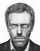 Graphite Portrait Drawings Prints - Dr. Gregory House - House MD Print by Olga Shvartsur