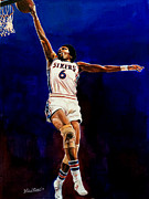 Lebron James Photos - Dr. J Julius Erving  by Michael  Pattison