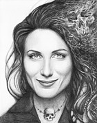 Black And White Drawing Prints - Dr. Lisa Cuddy - House MD Print by Olga Shvartsur