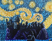 Geek Painting Posters - Dr Who Hogwarts Starry Night Poster by Jera Sky