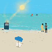 Dr. Who Digital Art Framed Prints - DR. Whos Tardis on The Beach Framed Print by Bryant Dodd