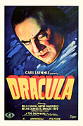 Scared Mixed Media Prints - DRACULA 1931 Vintage Poster Print by Presented By American Classic Art