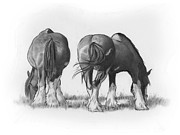 Rear View Drawings - Draft Horses Eating by Joyce Geleynse