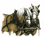 Draft Horses Print by Marie Downing