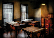 Work Photo Prints - Draftsman - The Drafting room Print by Mike Savad