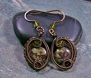 French Jewelry Originals - Dragon Blood Jasper Bronze Woven Circle Earrings by Heather Jordan