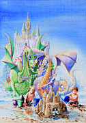Beach Scene Painting Originals - Dragon Castle by Hanne Lore Koehler