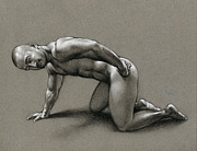 Male Nude Drawings - Dragon by Chris  Lopez