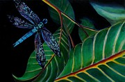 City Garden Drawings - Dragon Fly Soaring - Botanical by Grace Liberator