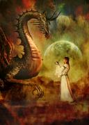 Fantasy Creatures Prints - Dragon Keeper Print by Angel Gold