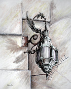 Building Exterior Drawings - Dragon lantern by Danuta Bennett