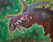 Lizards Paintings - Dragon by Laura Barbosa