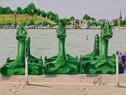 Baltimore Drawings Originals - Dragon Paddle Boats by Troy Argenbright