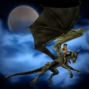 Youthful Digital Art Posters - Dragon Rider with Moon and Clouds - 1 Poster by Fairy Fantasies