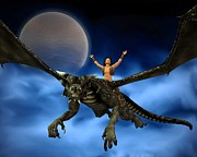 Youthful Digital Art Posters - Dragon Rider with Moon and Clouds - 2 Poster by Fairy Fantasies
