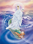 Kwan Yin Art Posters - Dragon-riding Avalokitesvara Poster by Lanjee Chee