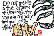 French Fries Painting Posters - Dragon Snack Poster by Dosanko Debbie