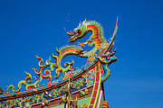 Asian Culture Prints - Dragon statue on traditional Taoist temple in Taiwan Print by Fototrav Print