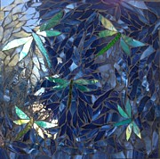 Art Glass Mosaic Glass Art - Dragonflies  by Alison Edwards