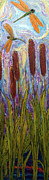 Bulrushes Prints - Dragonflies and Bulrushes Print by Paris Wyatt Llanso