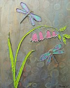 Dragonflies Mixed Media - Dragonflies And Flowers by Buddy Green
