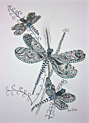 Dragonflies Drawings - Dragonflies by Karen Risbeck