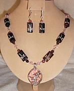 Wood Jewelry - Dragonflies Necklace Set by Kim Souza