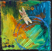 Gold Pastels Prints - Dragonfly Abstract Print by Tracy L Teeter