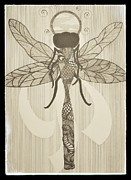 Dragonfly Drawings Framed Prints - Dragonfly Bride Framed Print by Felicia Rall