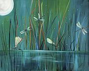Moon Paintings - Dragonfly Diner by Carol Sweetwood