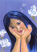 Spiritual Portrait Of Woman Painting Prints - Dragonfly Dreamer Print by Jane Small