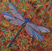 Blooming Paintings - Dragonfly by Erika Pochybova-Johnson