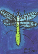 Dragonfly Drawings Framed Prints - Dragonfly Framed Print by Ethan