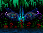 Moss Green Digital Art Prints - Dragonfly Eyes Series 6 Final Print by Teri Schuster
