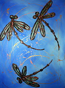 Lyndsey Hatchwell Art - Dragonfly Flit - Blues by Lyndsey Hatchwell