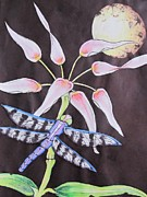 Plant Greeting Cards Drawings Posters - Dragonfly Flying By The Moon Poster by Donna Wilson