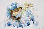 Watercolor Artist Prints - Dragonfly Hunter Print by Zaira Dzhaubaeva
