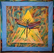 Acrylic Art Tapestries - Textiles Prints - Dragonfly Print by Linda Egland