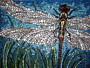 Dragonfly Glass Art Framed Prints - Dragonfly Framed Print by Monique Sarfity