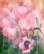 Insect Mixed Media Prints - Dragonfly On Peach Poppies Print by Carol Cavalaris